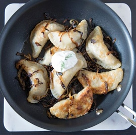 Pork and mushroom pierogies... and the lady from Berlin