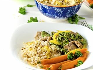 Pork & Fiddlehead Stir-Fry with Peppers and Lemon Couscous