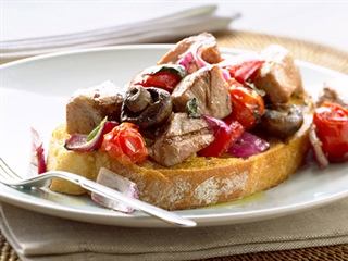 Pork Spiedini and Grilled Vegetable Salad