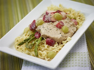 Golden Pork Steaks with Strawberry Grape Sauce