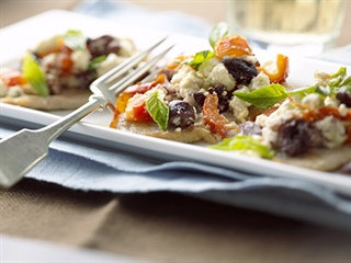 Fast-Fry Pork Loin Chops with Feta Cheese and Black Olives
