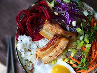 Pork belly Korean rice bowl