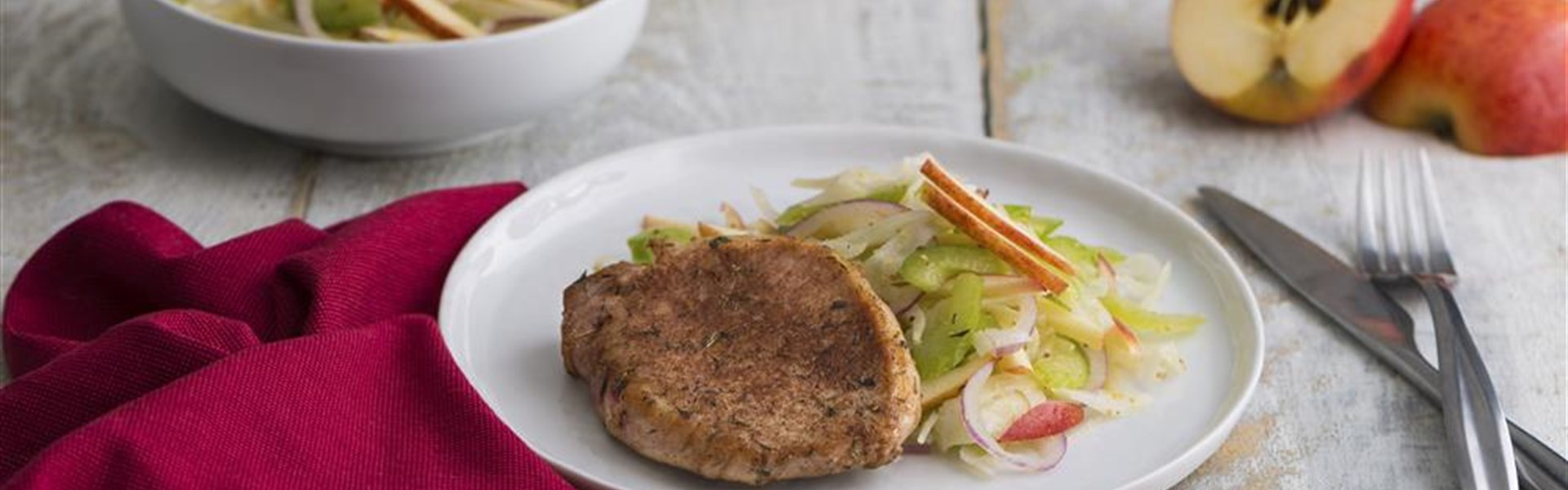 Spiced Pork Chops with Apple Fennel Slaw